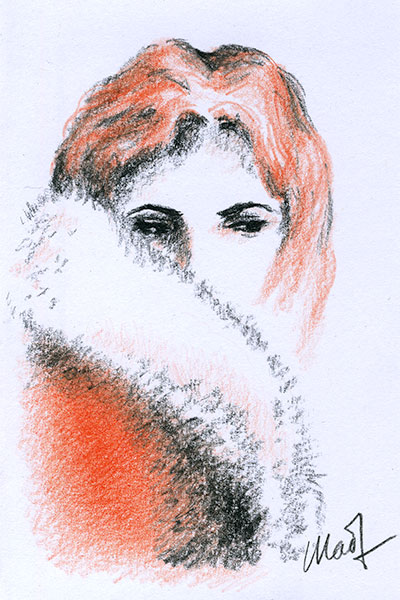 "Yelena Shabrova ~ A sketch a day: portrait ~ charcoal and colored pencil on drawing paper, 4"" x 6"""