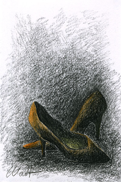 Yelena Shabrova ~ A sketch a day: shoes ~ colored pencils, China marker, 4″ x 6″