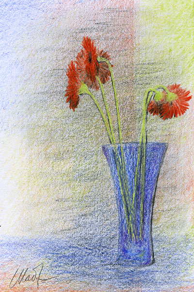 "Yelena Shabrova ~ A sketch a day: red flowers ~ colored pencil on drawing paper, 4"" x 6"""