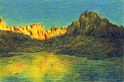 "Yelena Shabrova ~ A sketch a day: sunset in the mountains ~ pastel pencil, China marker, 6"" x 4"""