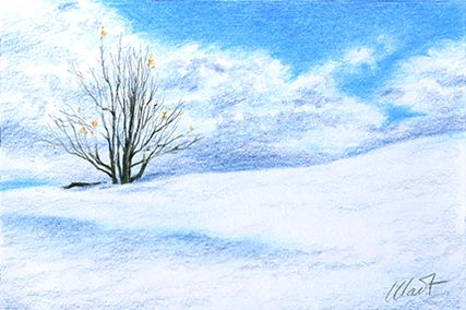 "Yelena Shabrova ~ A sketch a day: winter emptiness ~ colored pencil on drawing paper, 6"" x 4"""