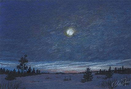 Yelena Shabrova ~ a sketch a day ~ night winter landscape in colored pencil and pastel pencil, 6″ x 4