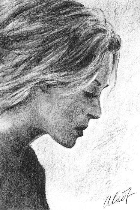 "Yelena Shabrova ~ A sketch a day: girl portrait ~ charcoal pencil, 4"" x 6"""