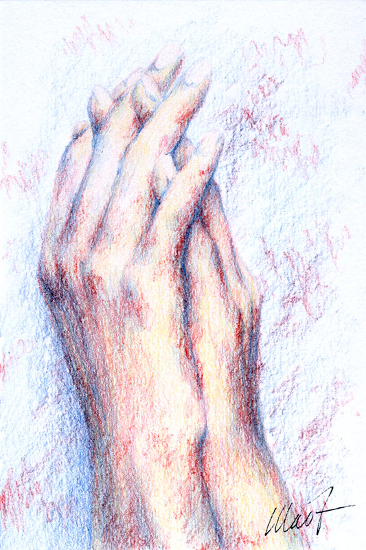 Yelena Shabrova ~ Sketch: hands ~ colored pencil, 4 x 6""