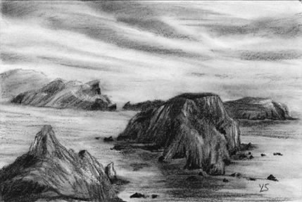 "September 11, 2010 sketch - charcoal, 6"" x 4"""