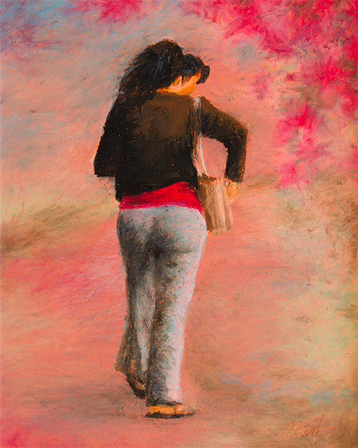 A woman walking while looking into her purse, painted from the back, against an abstract background that resembles a path
