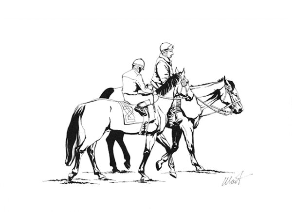 """Yelena Shabrova ~ On the Racetrack II - pen and ink on drawing paper, 11.5"""" x 8.5"""""""