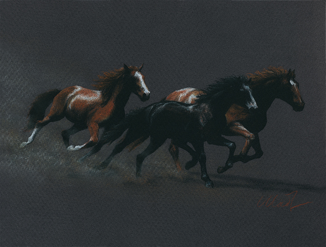 """Running Free - pastel pencil on colored paper, 12"""" x 9"""""""