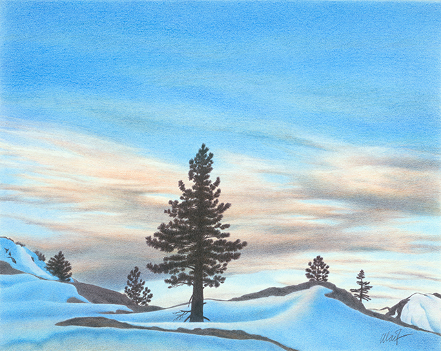 "Winter Dawn - colored pencil on Bristol paper, 20"" x 16"""