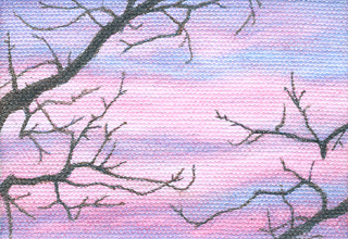 "Miniature - colored pencil on canvas, 3.5"" x 2.5"""