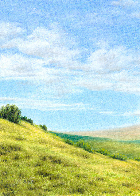 "Open Space - pastel pencil on drawing paper, 5"" x 7"""