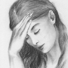 "Pensive Moment - graphite pencil and charcoal on drawing paper, 4"" x 6"""