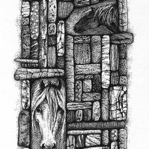 """Yelena Shabrova ~ Gathering II ~ pen and ink on drawing paper, 4"""" x 6"""""""
