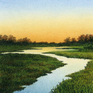 """River of Light - pastel pencil on Canson drawing paper, 5"""" x 7"""""""