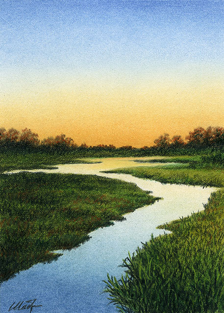 "River of Light - pastel pencil on Canson drawing paper, 5"" x 7"""