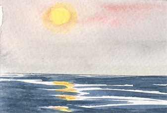 "Gudrun Baumeister - Sunset in the North Sea - watercolor 3.5"" x 2.5"""