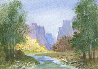 "Anne Olander - Zion National Park - acrylic, 3.5"" x 2.5"""