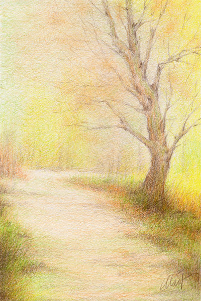 """A sketch a day: a walk in the park - colored pencil on Canson drawing paper, 4"""" x 6"""""""