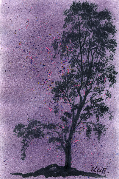 """Yelena Shabrova ~ A sketch a day: nocturnal tree ~ colored pencil and ink on drawing paper, 4"""" x 6"""""""