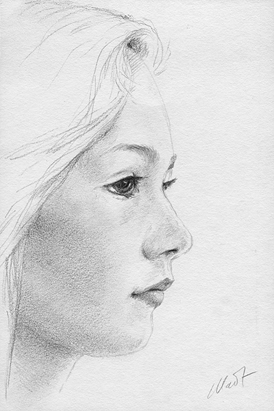 """Yelena Shabrova ~ A sketch a day: young girl ~ graphite pencil on Canson drawing paper, 4"""" x 6"""""""