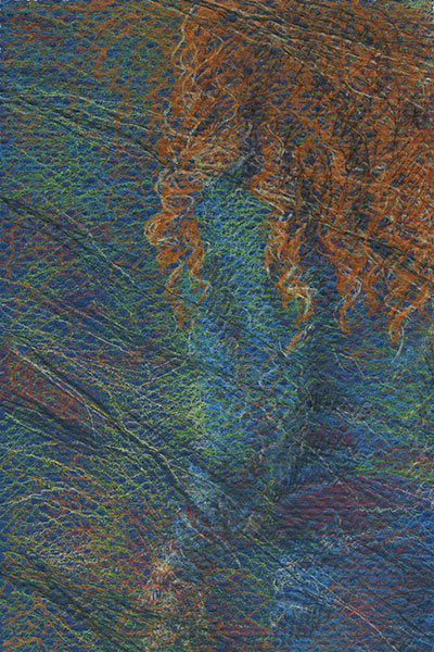 "Yelena Shabrova ~ A sketch a day: abstract, I think ~ colored pencils on Strathmore colored paper, 4"" x 6"""