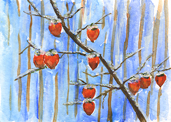 Dianne Daly ~ Persimmons in the Snow ~ watercolor