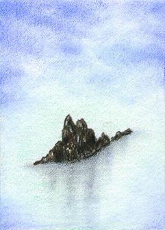 "Yelena Shabrova ~ rocks in the mist - ATC ~ colored pencil, 2.5"" x 3.5"""