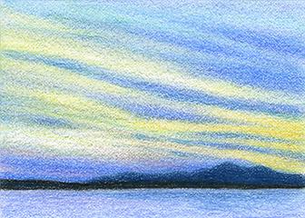 "Yelena Shabrova ~ marsh sunset - ATC ~ colored pencil, 3.5"" x 2.5"""
