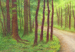 """Into the Woods (Miniature) - colored pencil on canvas, 3.5"""" x 2.5"""""""