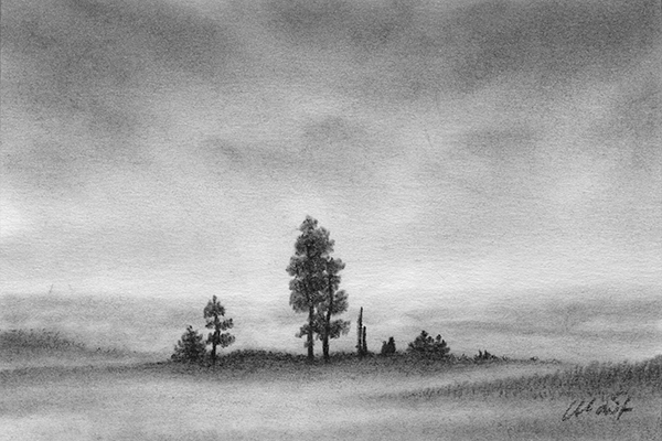 """Yelena Shabrova ~ A sketch a day: foggy scene ~ Derwent charcoal pencil on Canson drawing paper, 6"""" x 4"""""""