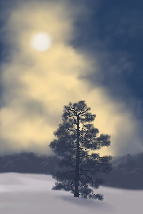 Yelena Shabrova ~ A sketch a day: snowy night ~ digital art