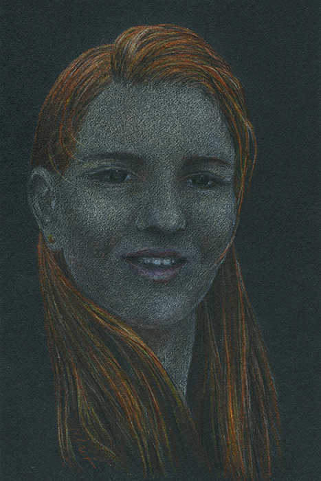 Yelena Shabrova ~ A sketch a day: girl ~ Faber-Castell colored pencil on black paper, 4″ x 6″