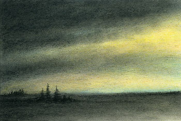 "Yelena Shabrova ~ A sketch a day: storm ~ pastel & charcoal, 6"" x 4"""