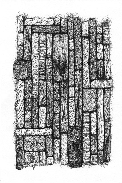 "Gathering I, by Yelena-Shabrova - pen & ink on drawing paper, 4"" x 6"""