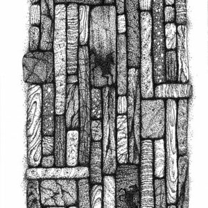 """Gathering I - pen and ink on drawing paper, 4"""" x 6"""""""