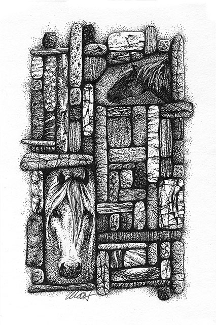 "Yelena Shabrova ~ Gathering II ~ pen & ink on drawing paper, 4"" x 6"""
