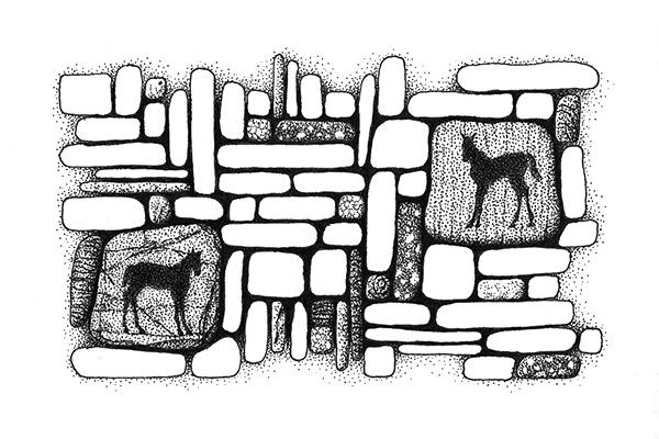 """Gathering III - rocks in pen and ink, 6"""" x 4"""" - in progress"""