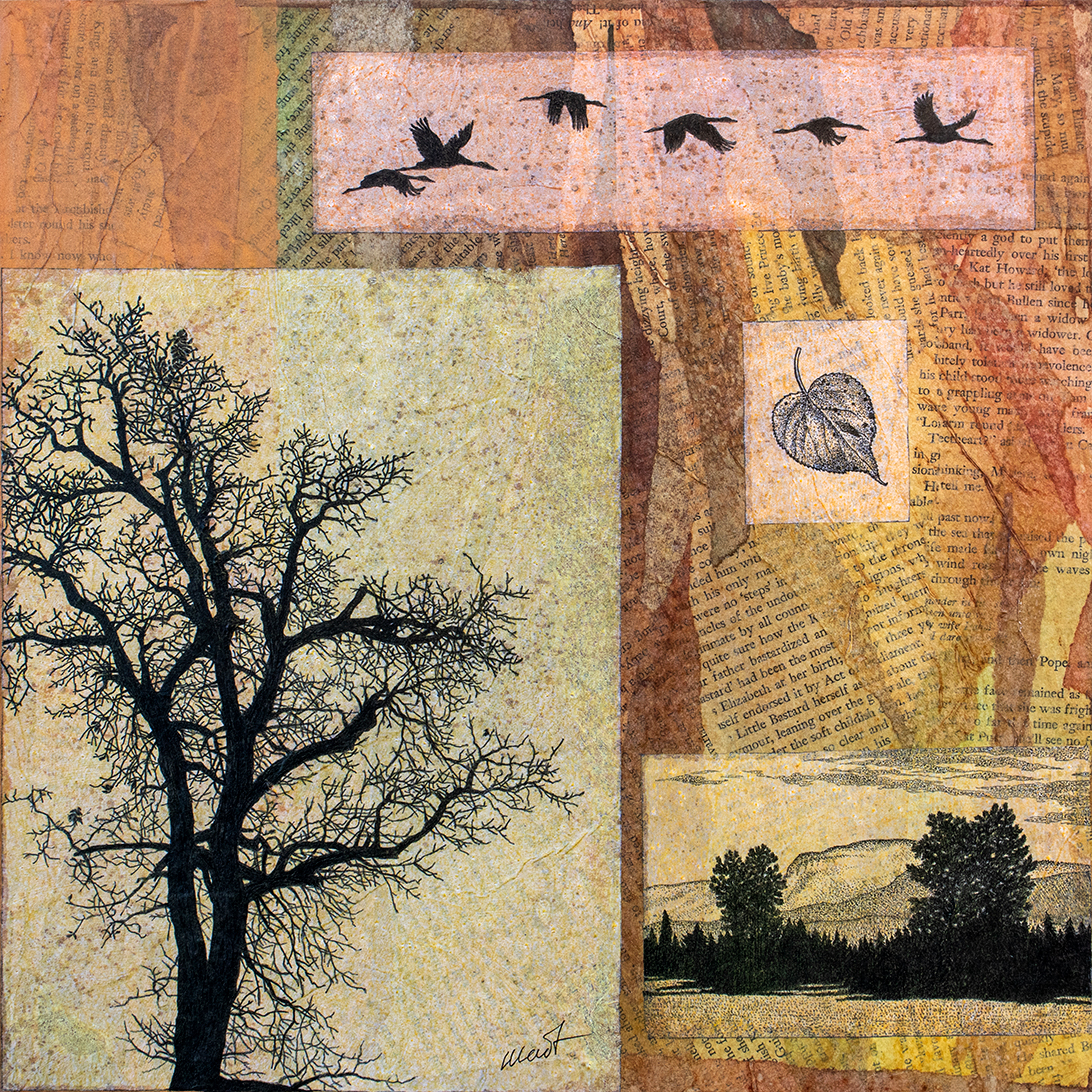 Mixed media artwork, tinted pieces of tracing paper with pen an black ink drawings of flying birds, a bare tree, and a landscape placed on a paper collage made with old book pages and torn tissue paper of warm earthy and green colors