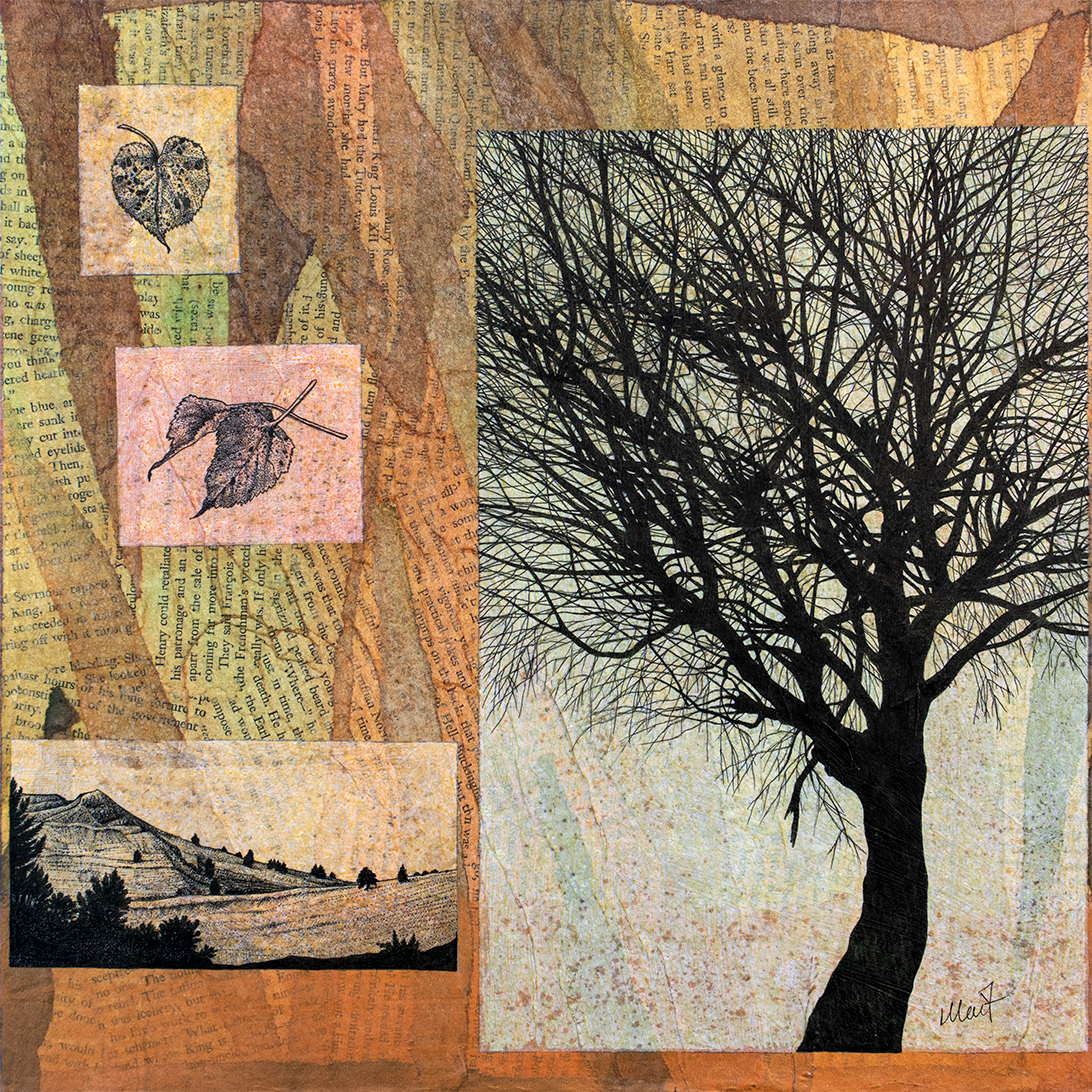 Mixed media artwork, tinted pieces of tracing paper with pen an black ink drawings of leaves, bare a tree, and mountains placed on a paper collage made with old book pages and torn tissue paper of warm earthy and green colors