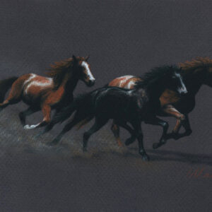 Pastel pencil drawing of three horses galloping to the right against a warm gray background