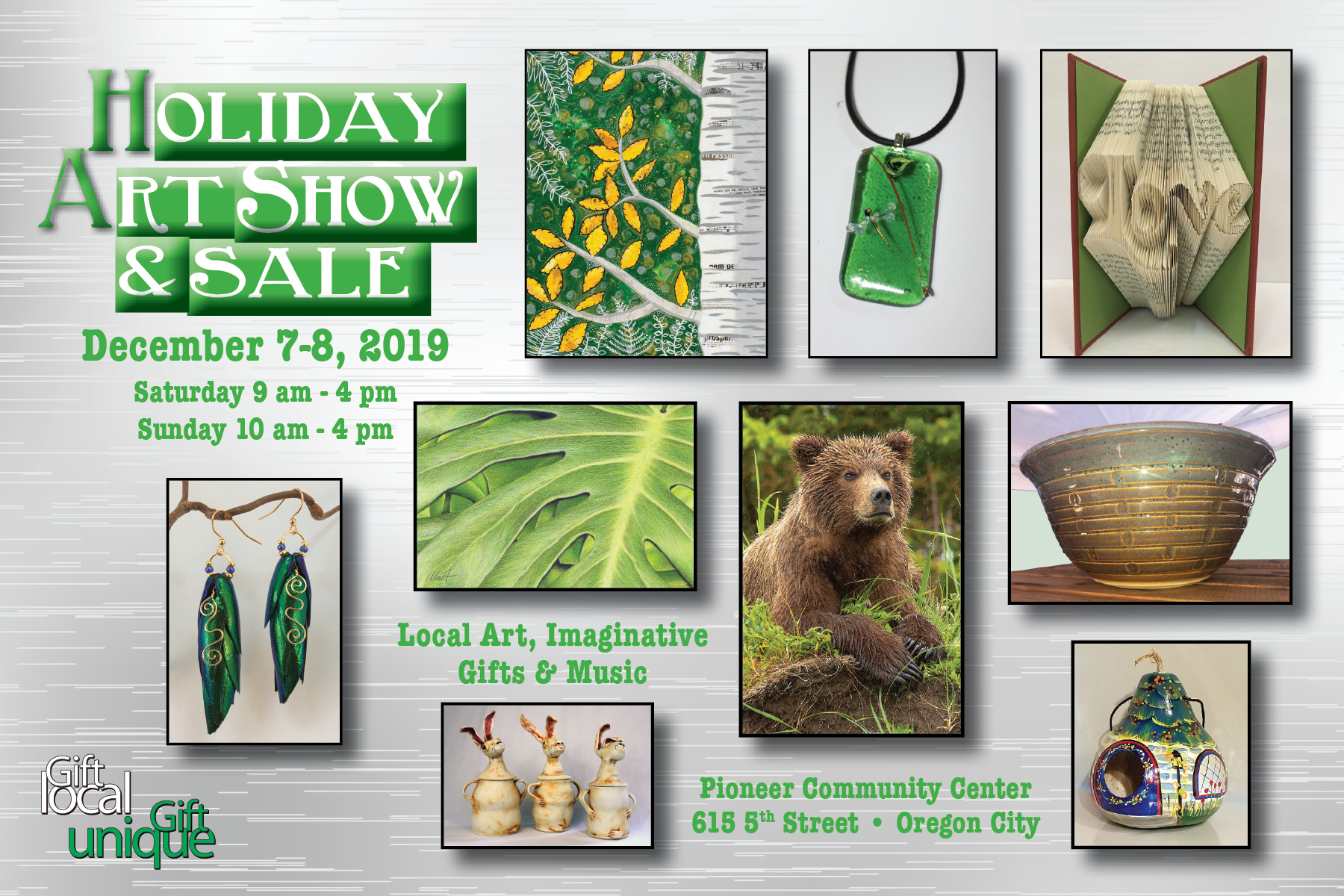 postcard for the 2019 Holiday Art Show & Sale 2019 at the Pioneer Community Center, Oregon City