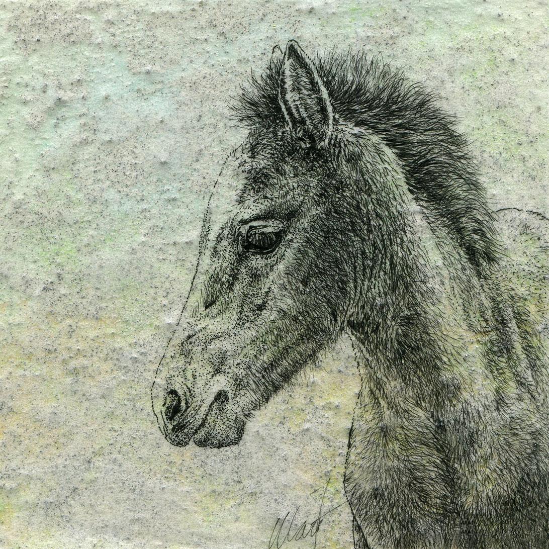 Delicate Beginnings III, mixed media drawing by Yelena Shabrova