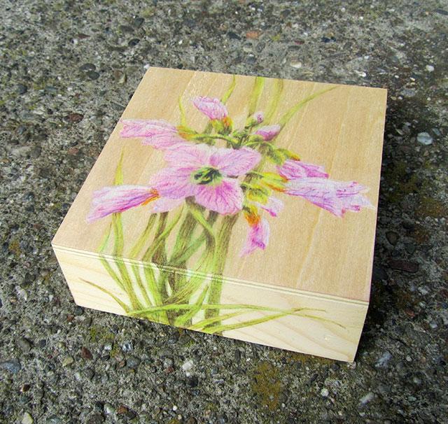 "Yelena-Shabrova ~ Overlooked-Beauty ~ colored pencil on wood panel, 4"" x 4"""