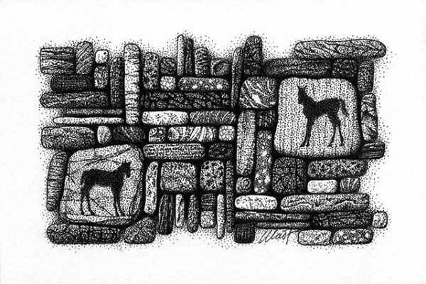 """Yelena Shabrova ~ Gathering III ~ pen and ink on drawing paper, 6"""" x 4"""""""