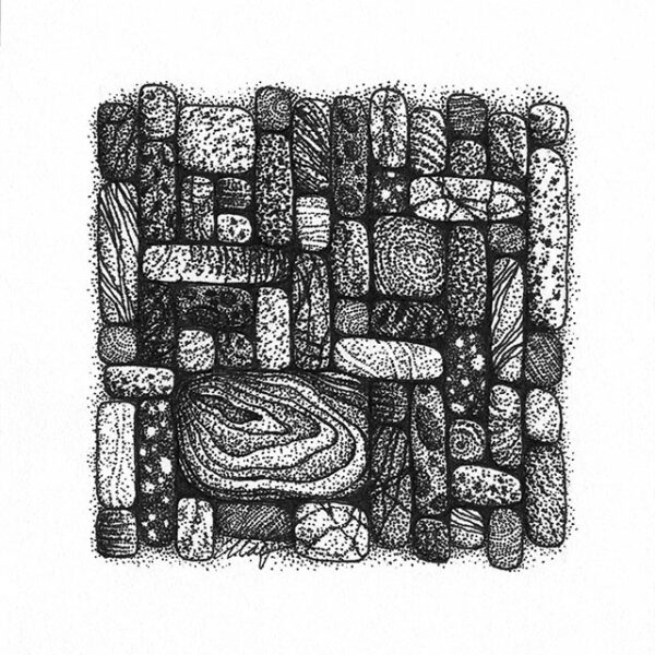 """Yelena Shabrova ~ Gathering V ~ pen and ink on drawing paper, 4"""" x 4"""""""