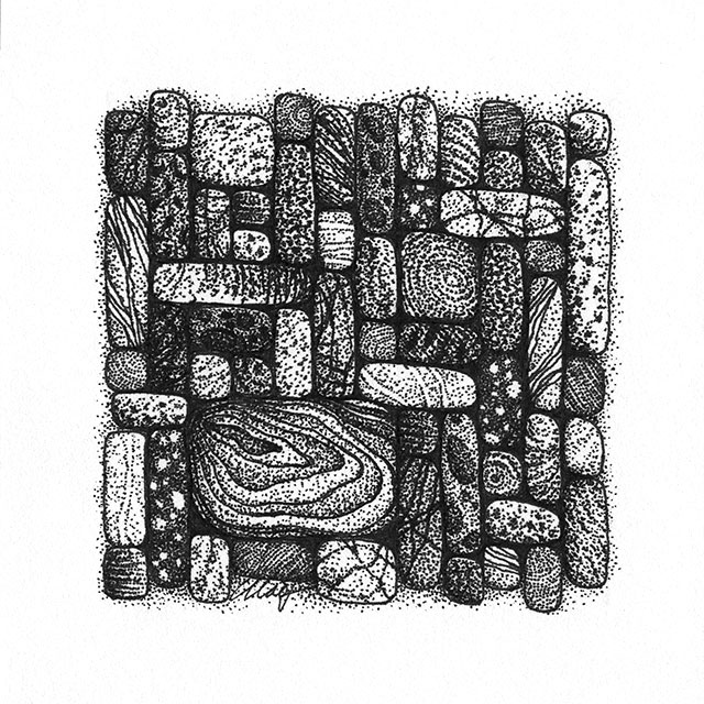 "Yelena Shabrova ~ Gathering V ~ pen and ink on drawing paper, 4"" x 4"""