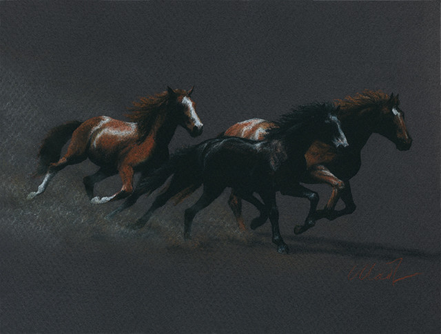 Yelena Shabrova ~ Running Free - pastel pencil on colored paper, 12″ x 9″Running Free - pastel pencil on colored paper, 12″ x 9″
