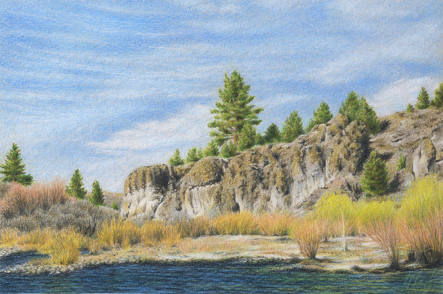 "Yelena Shabrova ~ Truckee River ~ colored pencil on colored paper, 9"" x 6"""